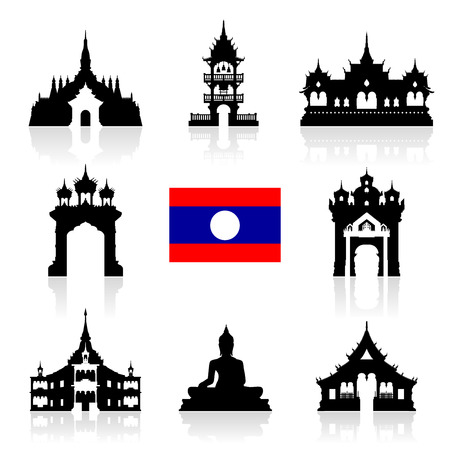 asean: laos Travel Landmarks. Vector and Illustration