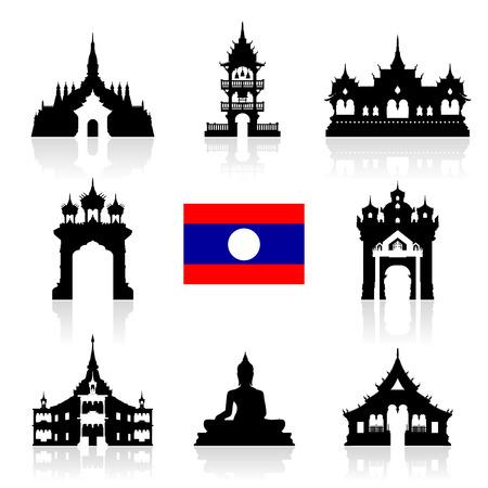 laos Travel Landmarks. Vector and Illustration