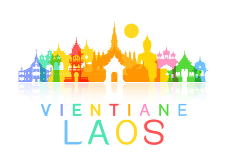laos Travel Landmarks. Vector and Illustration Reklamní fotografie - 46647702