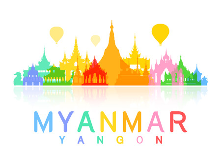 landmarks: Myanmar Travel Landmarks. Vector and Illustration