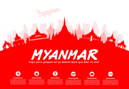 myanmar: Myanmar Travel Landmarks. Vector and Illustration