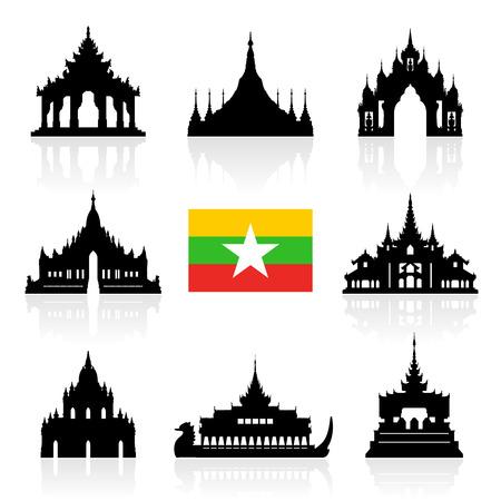 bandera: Myanmar Monumentos históricos de Viajes. Vector e ilustración Vectores