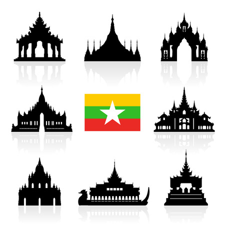 asean: Myanmar Travel Landmarks. Vector and Illustration