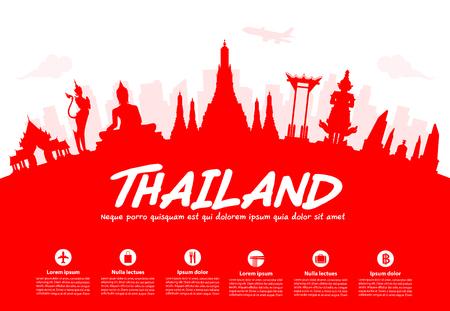 democracia: Tailandia Monumentos hist�ricos de Viajes. Vector e ilustraci�n Vectores
