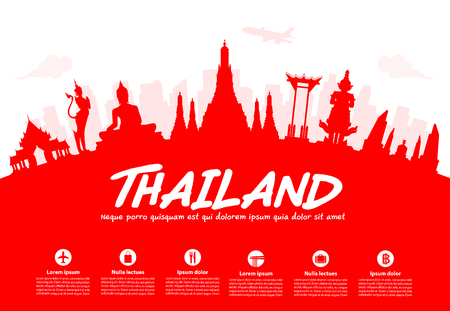 thailand: Thailand Travel Landmarks. Vector and Illustration