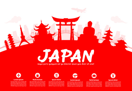 Beautiful Japan Travel Landmarks. Vettore e illustrazione. Archivio Fotografico - 46997872