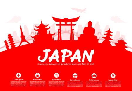 Gyönyörű Japán Travel nevezetességek. Vektor és illusztráció.