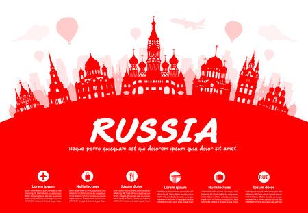 ロシア旅行のランドマーク。イラストとベクター