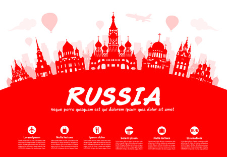 Russia Travel Landmarks. Vector and Illustration Иллюстрация