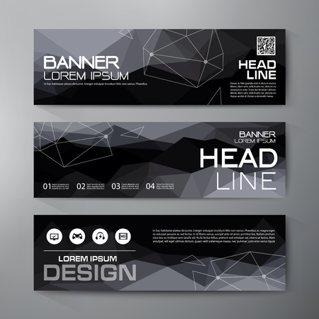 digital background: Banners set for business modern design. Polygonal geometric backgrounds. Vector and illustration Illustration