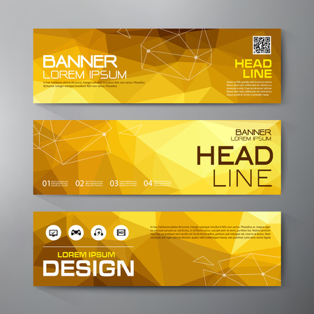 Banners set for business modern design. Polygonal geometric backgrounds. Vector and illustration Иллюстрация