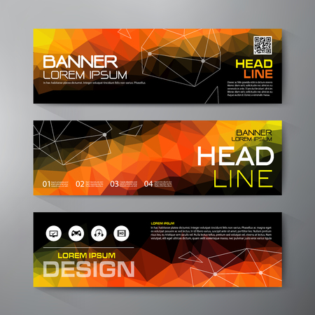 Banners set for business modern design. Polygonal geometric backgrounds.