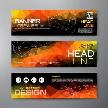Banners voor bedrijfs modern design. Veelhoekige geometrische achtergronden.