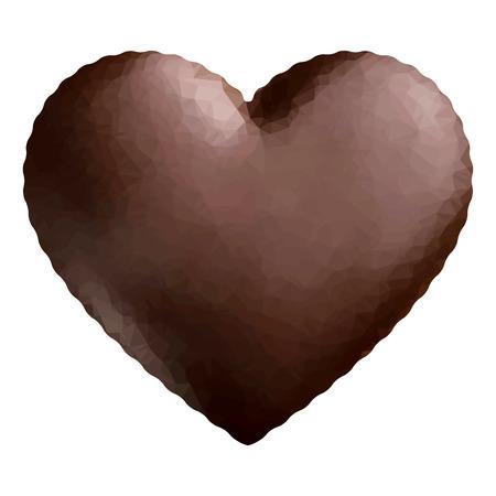 chunk: Chocolate heart low polygon. Illustration