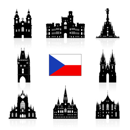 prague castle: Prague, Czech Republic Travel Icon. Illustration