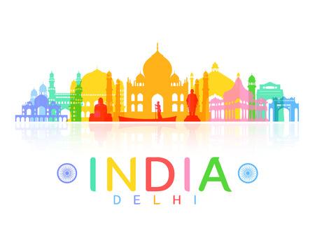 インド旅行のランドマーク。  イラスト・ベクター素材