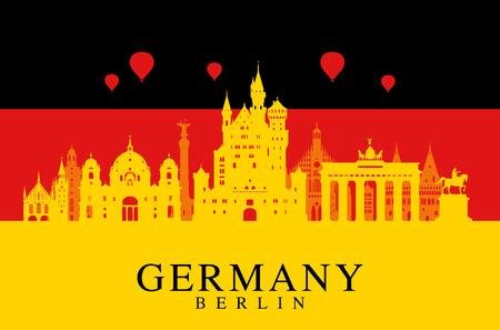 illustrations: Germany, Berlin travel landmark.