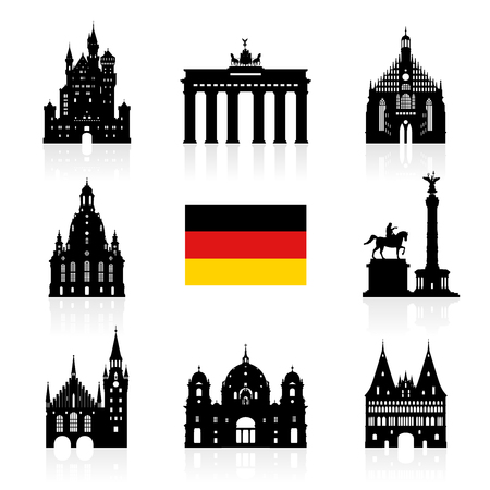 Germany, Berlin travel landmark icon.