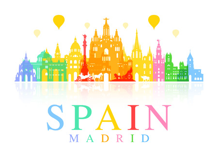madrid: Spain, Madrid Travel Landmarks Illustration