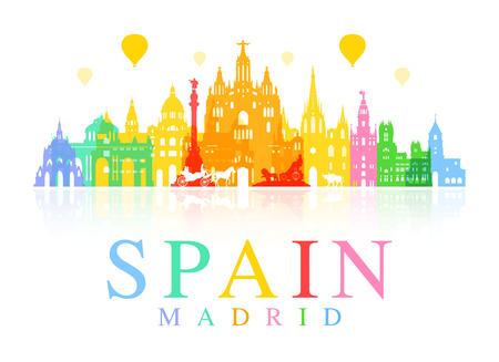 Spain, Madrid Travel Landmarks Illustration