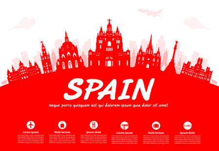 Spain Travel Landmarks. Vector and Illustration