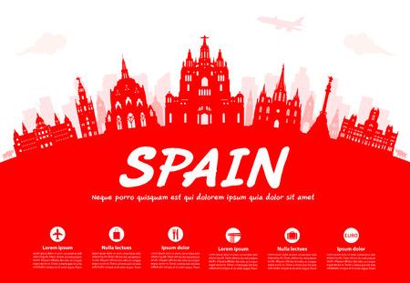 europe travel: Spain Travel Landmarks. Vector and Illustration