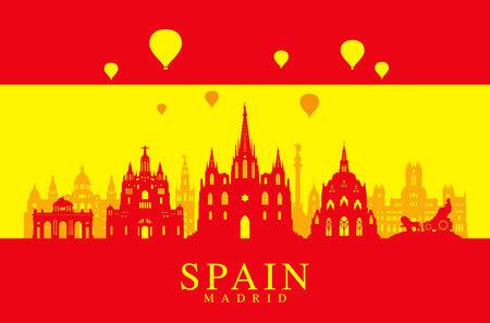 europe travel: Spain Travel Landmarks Flag