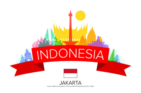Indonesia Travel, jakarta Travel, Landmarks. Ilustrace