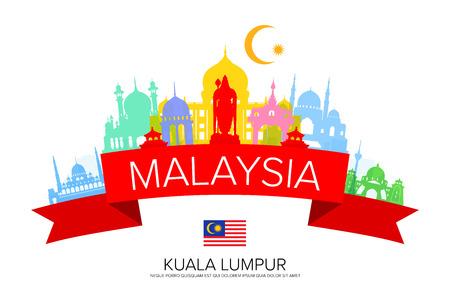 Malaysia Travel Landmarks and Flag and Illustration