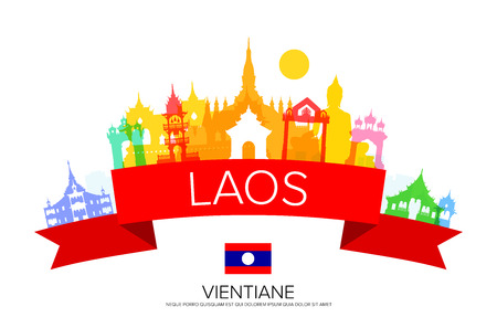 lao: laos Travel Landmarks and flag and Illustration