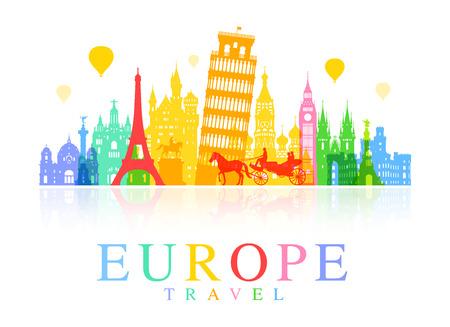 Señales Viajes Europa. Vector y la ilustración