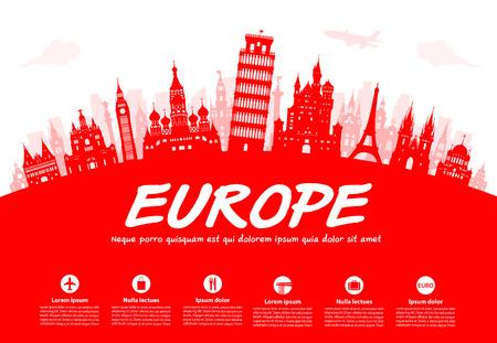 Europe Travel Landmarks. Vector and Illustration Vettoriali
