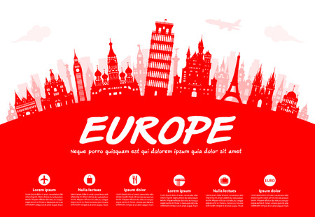 Europe Travel Landmarks. Vector and Illustration Иллюстрация