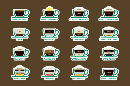 vigor: Hot Coffee drinks with recipes icons set. Vector and Illustration