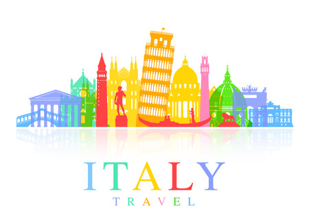Italië Travel Landmarks. Vector en Illustratie Stock Illustratie
