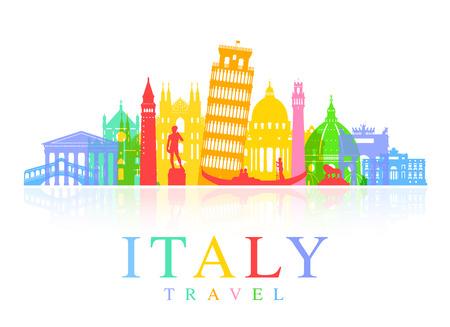 Olaszország Utazás nevezetességek. Vektor és illusztráció