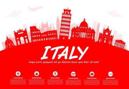 Italien Reisen Sehenswürdigkeiten. Vector und Illustration Standard-Bild - 62267736