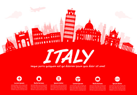 Italy Travel Landmarks. Vector and Illustration