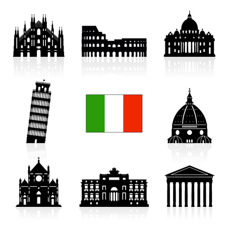 italian: Italy Travel Landmarks icon set.
