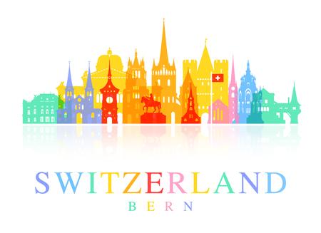 スイス旅行のランドマーク。イラストとベクター