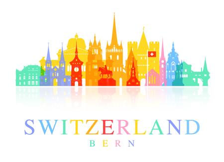 Switzerland Travel Landmarks. Vector and Illustration