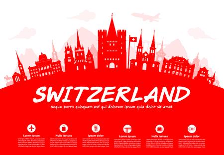 Switzerland Travel Landmarks. Vector en Illustratie Stock Illustratie