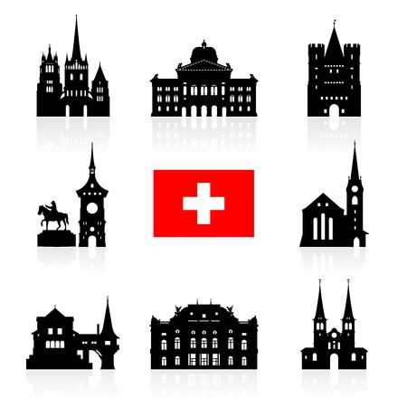 Set de viaje Suiza Señales icono. Vector y la ilustración Ilustración de vector