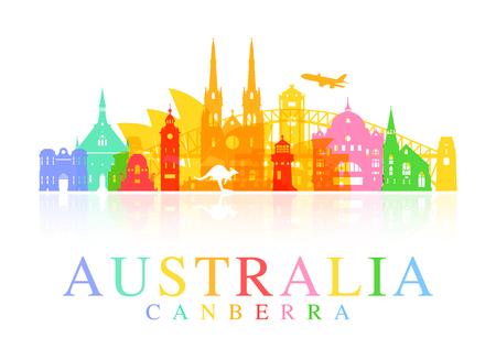 canberra: Australia Travel Landmarks. Vector and Illustration