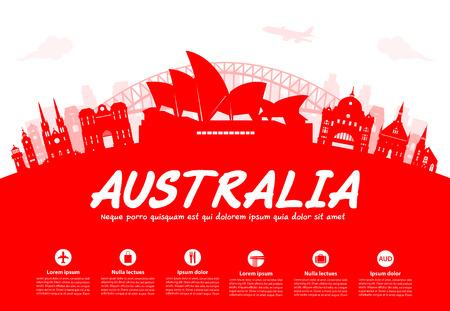 sydney skyline: Australia Travel Landmarks. Vector and Illustration