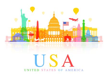 미국 여행 명소. 일러스트