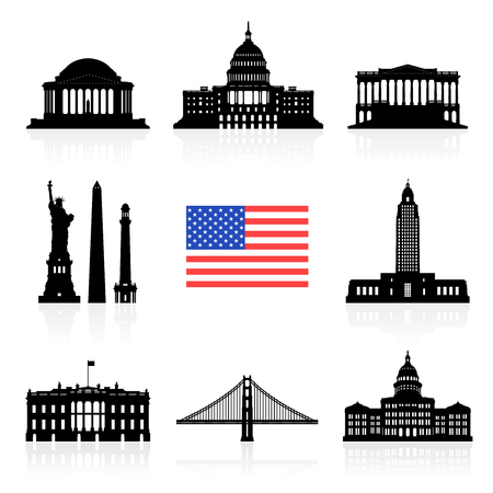 american cities: USA Travel Landmarks icon set
