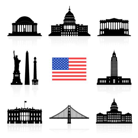 USA Travel Landmarks icon set Stock Vector - 63443834