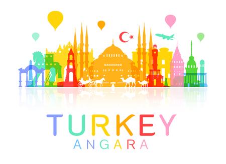 Turkije Reizen Landmarks. Stock Illustratie