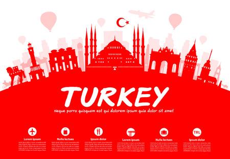 Turquie Monuments de voyage. Vecteurs